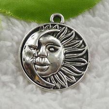 free ship 80 pieces tibet silver sun face charms 29x25mm B4838