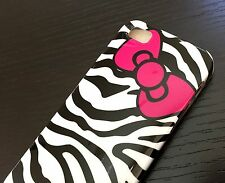 For iPhone SE 5S - HARD RUBBER GUMMY SKIN CASE COVER BLACK ZEBRA HELLO KITTY BOW