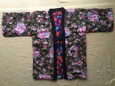 Japanese Hanten Kimono Jacket -M-Reversible Warm Room Wear camellia Peony JAPAN