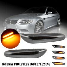 Side Marker Light Turn Signal Black LED For BMW E90 E91 E92 E60 E87 E82 E46 US +