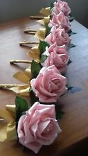 Wedding rose (baby pink) buttonholes x 6 diamante or pearls gold ribbon bow