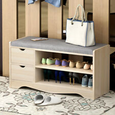 Q08S Shoe Bench Organizer Seat Wooden Cabinet Storage Wood Stand