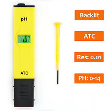 Accuracy Pocket Size pH Meter tester ATC Backlit Light LCD 0-14 pH Measurement