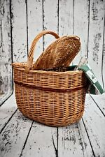 Oval Natural Wicker Picnic Car Basket With Handle New