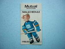1986/87 MUTUAL LIFE OF CANADA NHL HOCKEY SCHEDULE