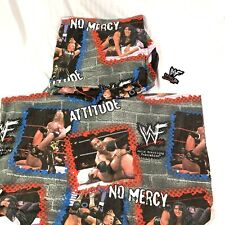 Vintage WWF No Mercy Flannel Twin Bed Sheets The Rock, China, Jericho + Sticker