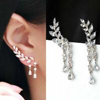 Sterling Silver Crystal Leaf Ear Cuff Climber Crawler Stud Earrings wzk lskn