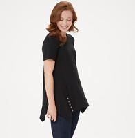 LOGO by Lori Goldstein Cotton Modal Knit Top w/Button Detail - Black - XXSmall