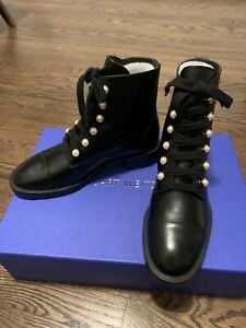 NWB Stuart Weitzman Reysen Black Leather Combat Boots Pearl Accents Size US 7