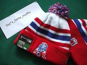 New England Patriots New Era knit pom hat beanie 2013 Tom Brady RARE throwback !
