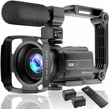 Video Camera 4K Camcorder Ultra HD 48MP Vlogging Camera for YouTube WiFi Night V