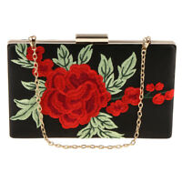 Fashion Embroidered Rose Evening Handbag Clutch Purse Shoulder Chain Bag