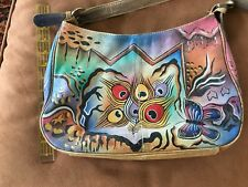 Biacci Hand Painted Satchel bag with Butterfly and Peacock Feather Design
