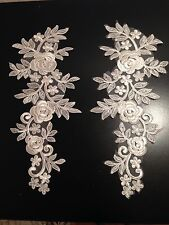 Ivory flower bridal wedding embroidery patch lace applique motif dance costume