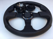 For: Polaris RZR Hub + Quick Disconnect Black + Steering Wheel Black Carbon Wrap