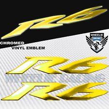 "6"" 3D EMBLEM FENDER/FAIRING/FUEL TANK LOGO STICKER FOR YZF-R6/R6S CHROME GOLD"