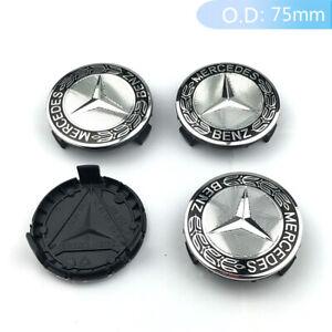 4X Hub Caps Wheel Centre Caps Badge Cover Emblem 75MM ABS Wheel Caps For Benz