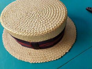 CAVANAGH Straw Boater Skimmer Hat  7 1/8 Vintage Barber Shop NEW YORK vintage