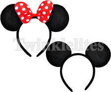 Mickey and Minnie Mouse Headband Polka Dots Ears Red Bow Birthday Party Favors