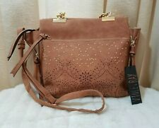 New Violet Ray Brown Leather Suede Crossbody Shoulder Bag Gold Studs Laser Cut