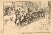 Hay Ride, Straw Ride In Ohio, Horse Drawn Sleigh, Vintage 1883 Antique Art Print