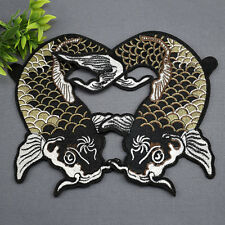 2Pcs Carp Fish Embroidered Iron on Sewing Patch Badge Hat Bag Dress Applique DIY