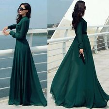 Women Ball Gown Party Cocktail Beach Long Sleeve Maxi Dress Button Slim Sundress Green XL