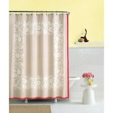 KATE SPADE Morningside Heights SHOWER CURTAIN Tan Coral White Floral Grosgrain