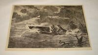 1879 magazine engraving ~ A STORM ON THE AMAZON