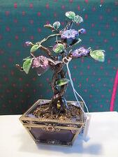 Bonsai Purple Tree ~ Bejeweled Enamel Trinket Box With Austrian Crystals 3395