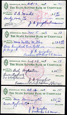 Michigan Christian Endeavor Union Lot of 13 Unionville Bank Checks 1928 - 1930