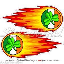 "IRLANDE IRISH SHAMROCK fireball-fire-flaming EIRE 125mm (5 "") Autocollants Stickers x2"