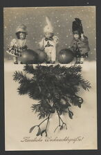 MB4854  VINTAGE XMAS, ORNAMENTS, DOLLS , PUPPETS, IN SNOWSCENE, CHRISTMAS