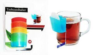 4x Teebeutelhalter mit Tassenhalterung Kunststoff Tassenutensilo Kekshalter 05