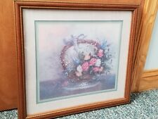 Home Interiors Vintage Floral Basket Picture W/Pink, White & Yellow Roses 18x20