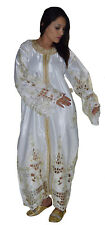 Moroccan Womens Caftan Takchita Handmade Dress With Embroidery Kaftan White