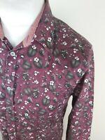 Mens Ted Baker Floral Flower Shirt Noface Purple 4 Large slim 40 Chest