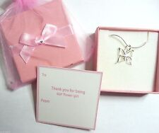 Wedding Gift Butterfly Necklace Flower Girl Part Completed Gift Tag Box & Bag