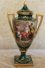 Royal Vienna Hand Painted Enamel With Raised Gold Porcelain Urn Signed