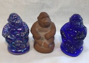 "Boyd Art Glass Set Of 3 ""Sonny The Gorilla"" Cobalt, Cobalt Carnival Chocolate"
