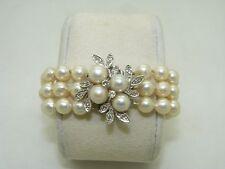 1960's Vintage 3 row Japanese cultured pearls and diamond bracelet