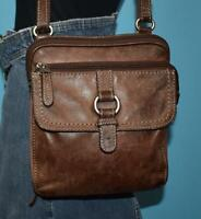FOSSIL 'CROSSTOWN' Flap Brown Leather Cross-body Messenger Shoulder Purse Bag