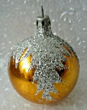 """Antique Glass Christmas Ornament 3"""" Gold Loaded W/ Silver Glitter Pine Boughs"""