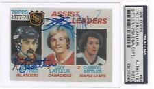 1978-79 NHL Assist Leaders Trottier-LaFleur-Sittler Auto Card PSA/DNA Cert CSC