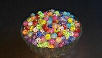 10MM Mixed Acrylic With Swirl Rhinestone Pattern Round Spacer Loose Beads 100pc.