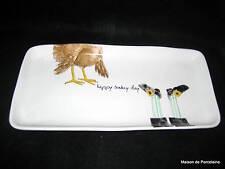 "RAE DUNN MAGENTA THANKSGIVING ""HAPPY TURKEY DAY"" PILGRIM TRAY/PLATTER"