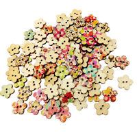 Lots 100 boutons de fleurs en bois avec 2 trous pour la couture, bricolage