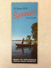 Vintage Spooner Wisconsin Lake Area Map