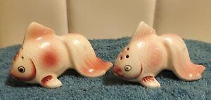 Vintage Pink Fantail Fish Salt And Pepper Shakers- Japan