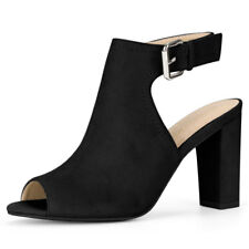 Women Block Heel Sandals Slingback PEEP Toe BOOTS Black-1 US 7